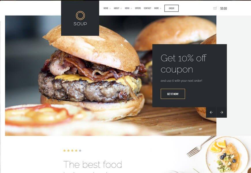 Soup burger restaurant website templates