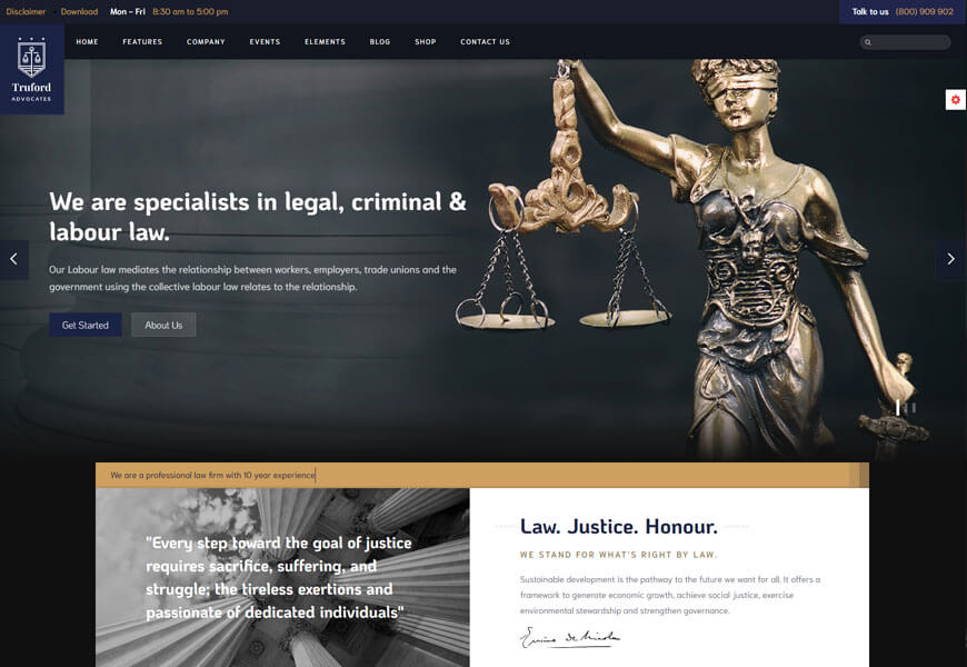Truford is a unique law firm website template