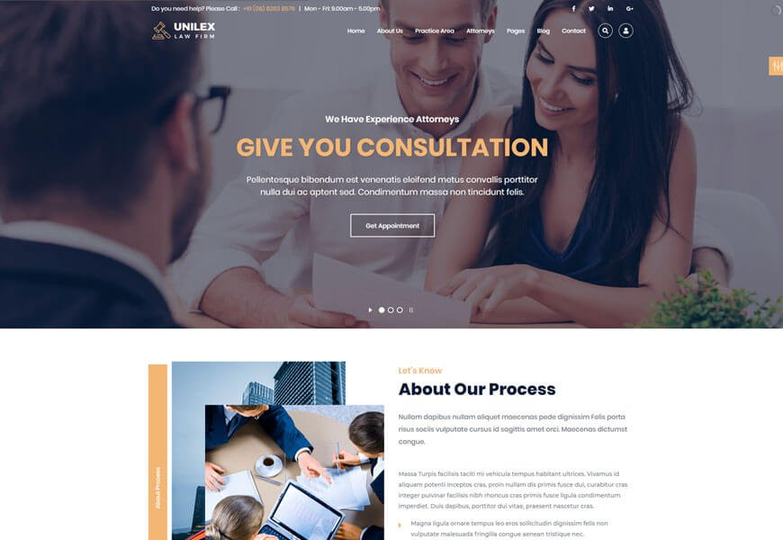 unilex one of the nice website templates for lawyer