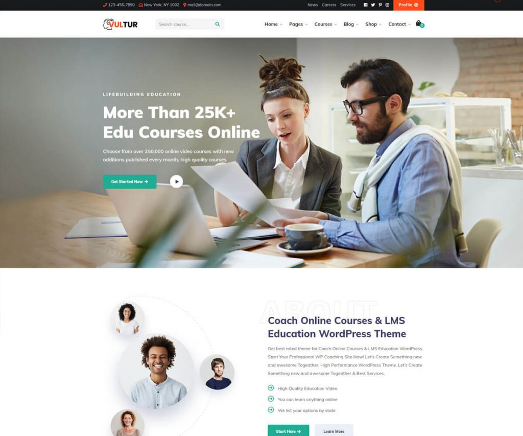 Vultur lms WordPress theme