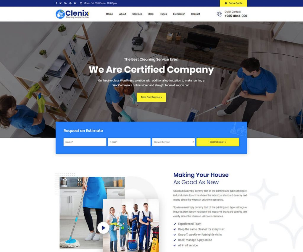 clenix cleaning company WordPress templates.