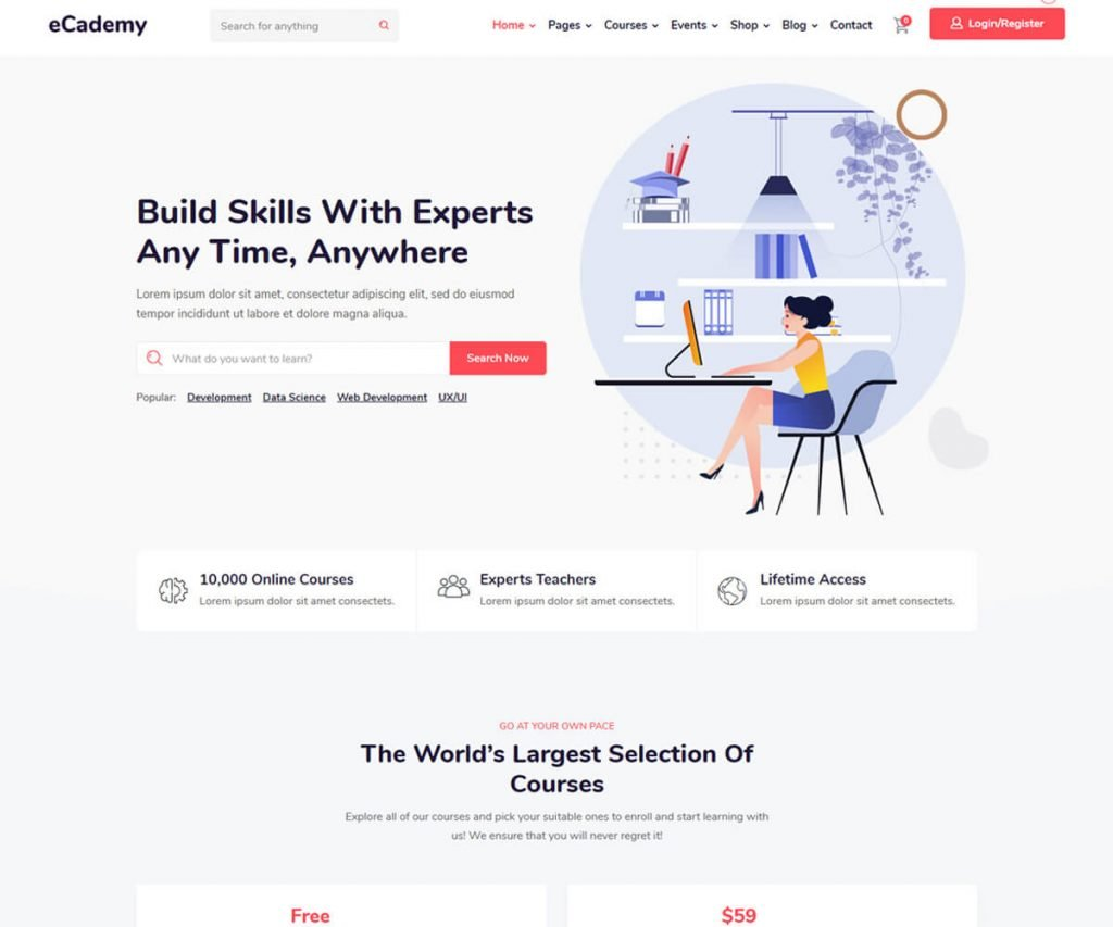 ecademy is the best lms WordPress theme