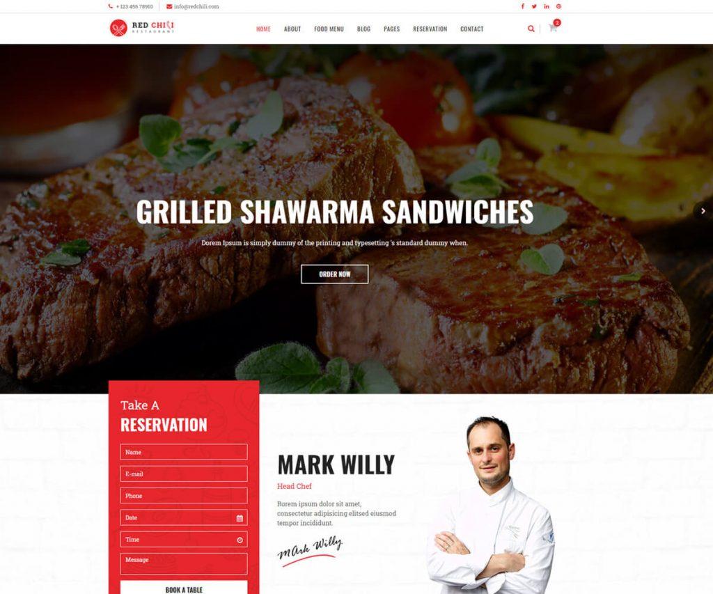 redchili restaurant website templates