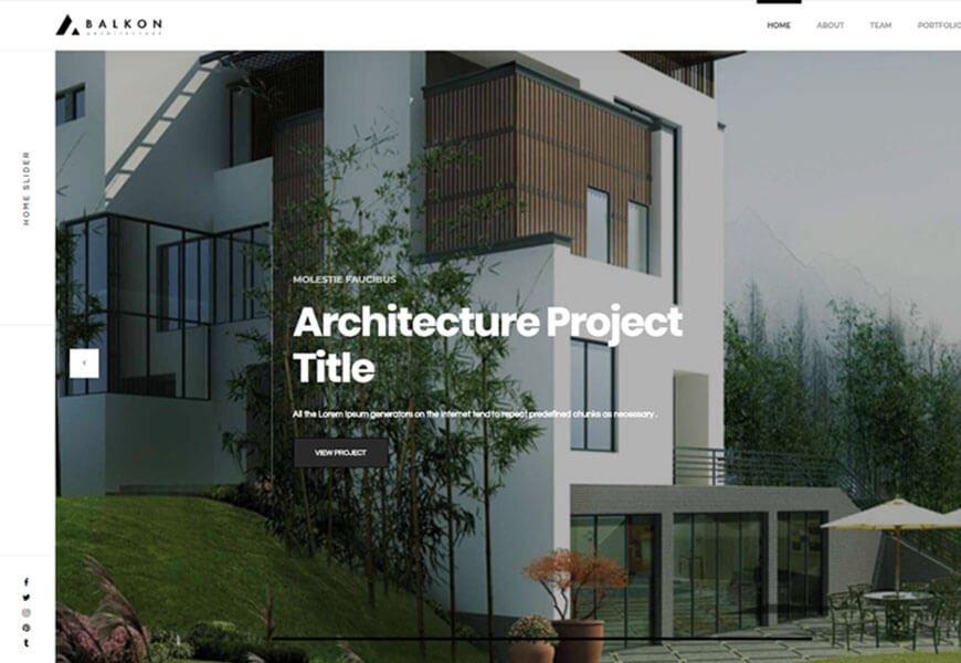 Balkon is a creative showcase portfolio templates for architects and interior design artists