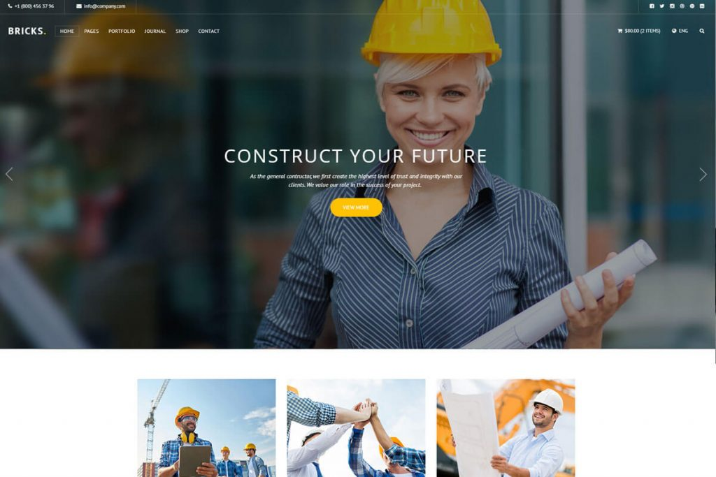 Bricks is a fantastic website template for construction company websites