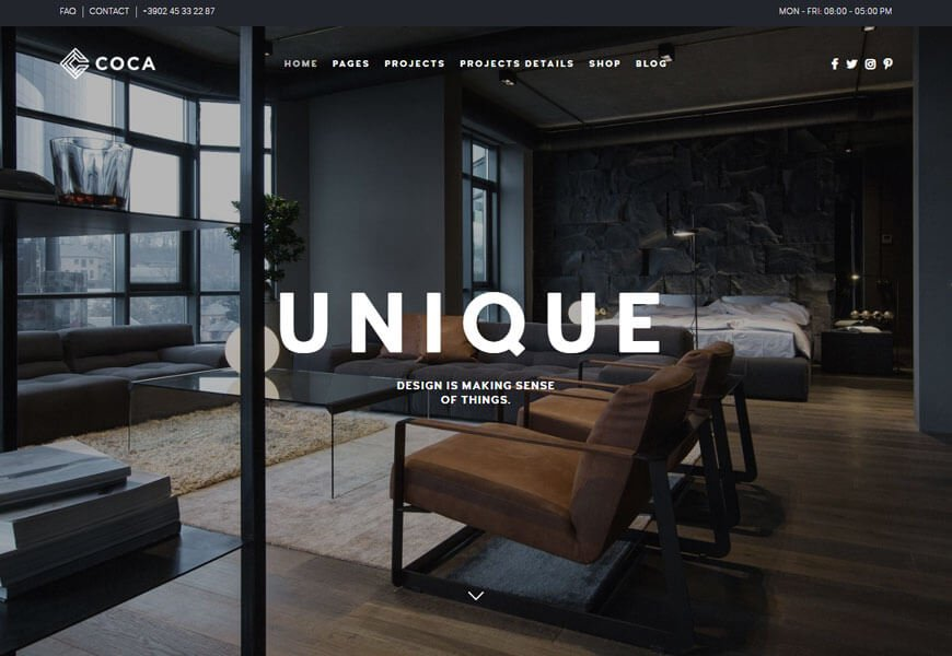 COCA is one of the most feature-rich architecture website templates