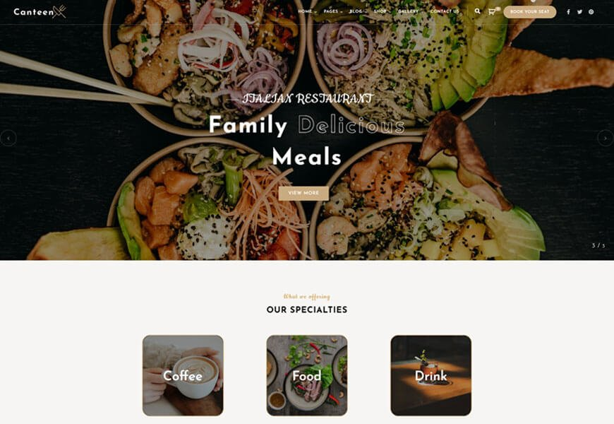 Canteen is one of the most exceptional restaurant WordPress theme