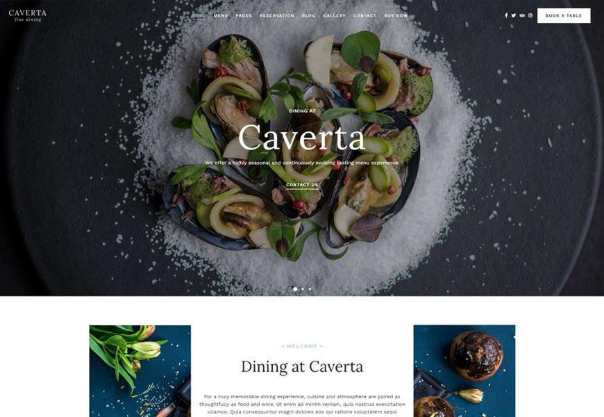 Caverta is the restaurant WordPress theme