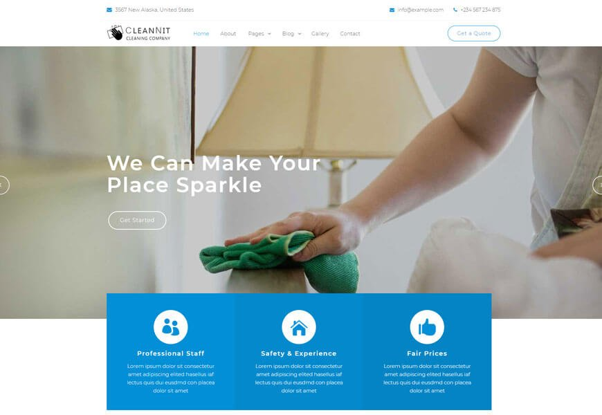 responsive cleaning company website templates