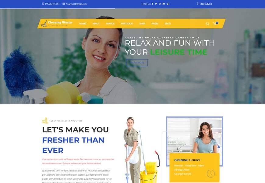 Cleaning Master is the best cleaning website templates