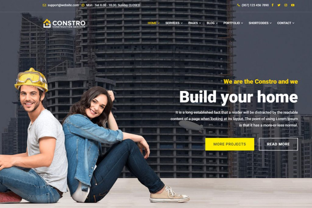 Constro is another building construction website templates