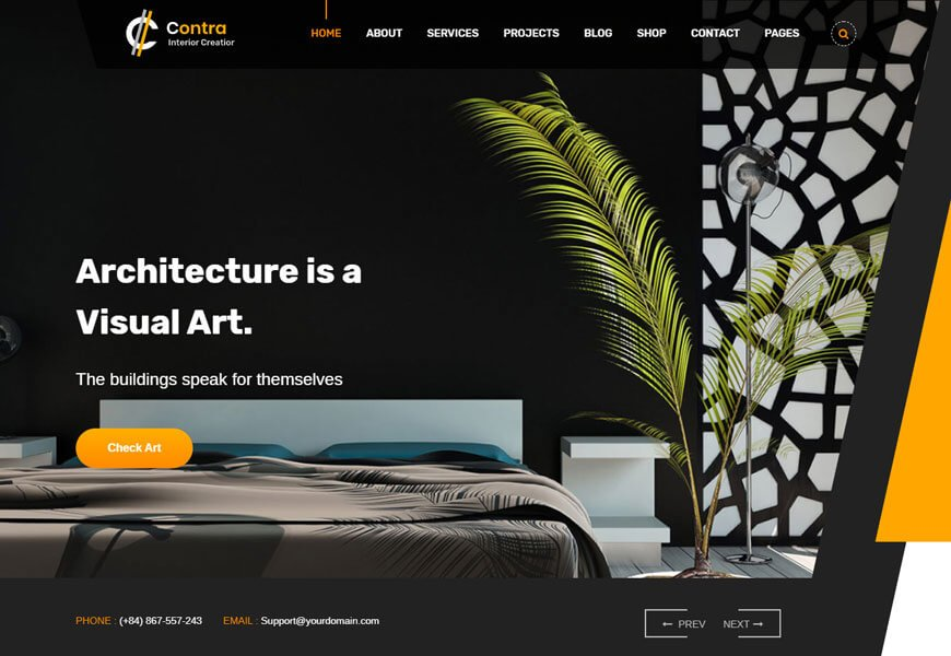 Contra is one of the best architecture website templates Themeforest