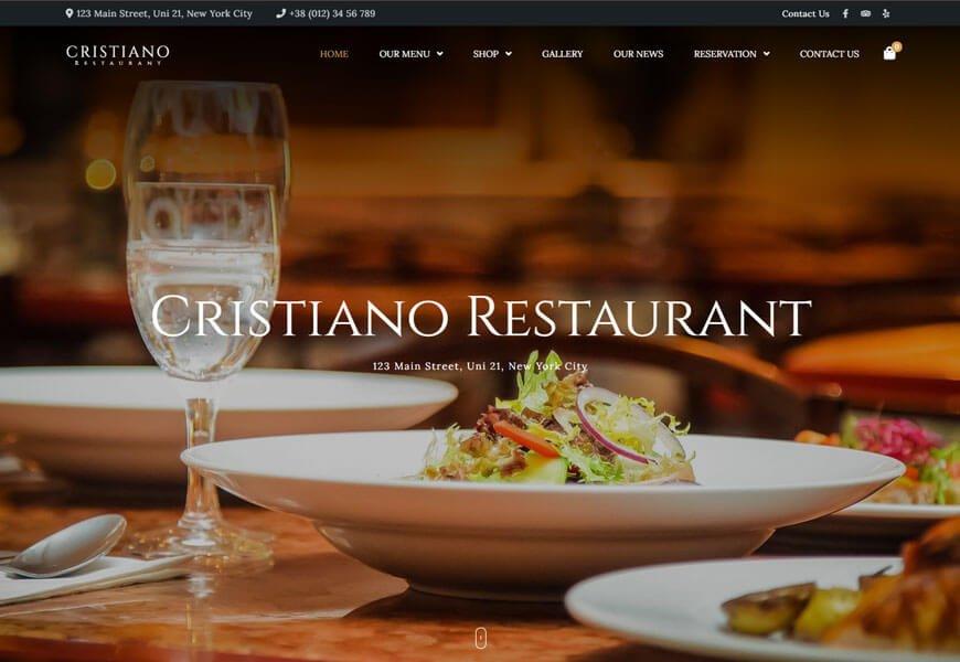 Cristiano is a beautiful restaurant WordPress theme