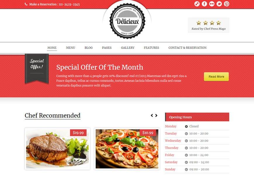 Delicieux is a premium restaurant WordPress theme