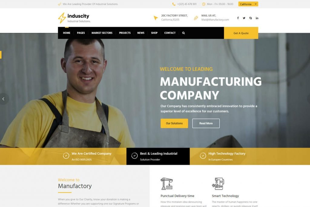 Induscity is another world-class building construction website template