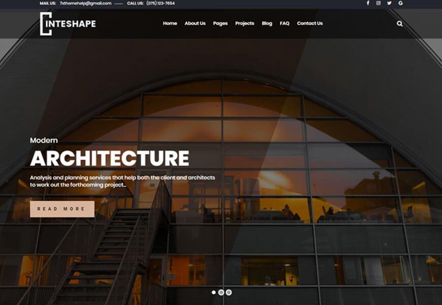 Inteshape is a fantastic architecture portfolio website templates