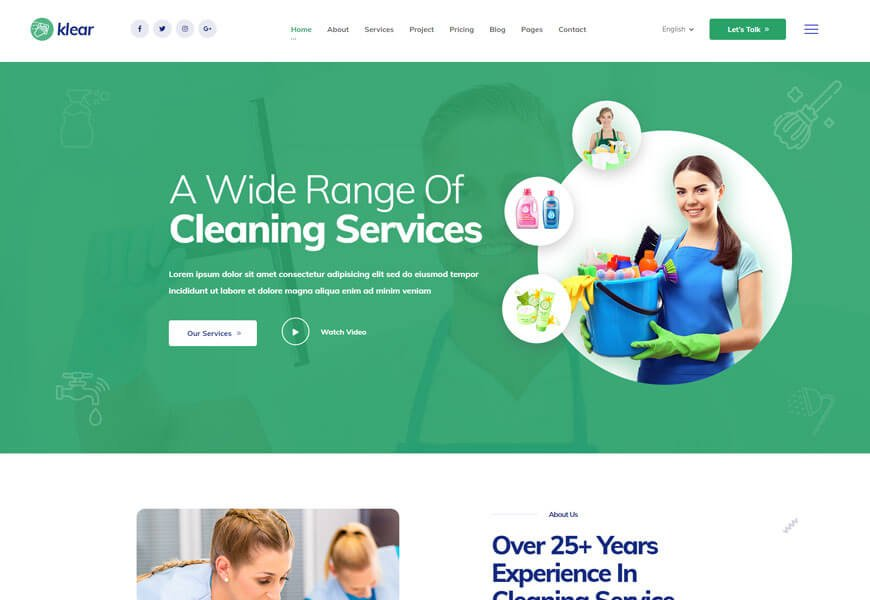 klear is another cleaning company website templates