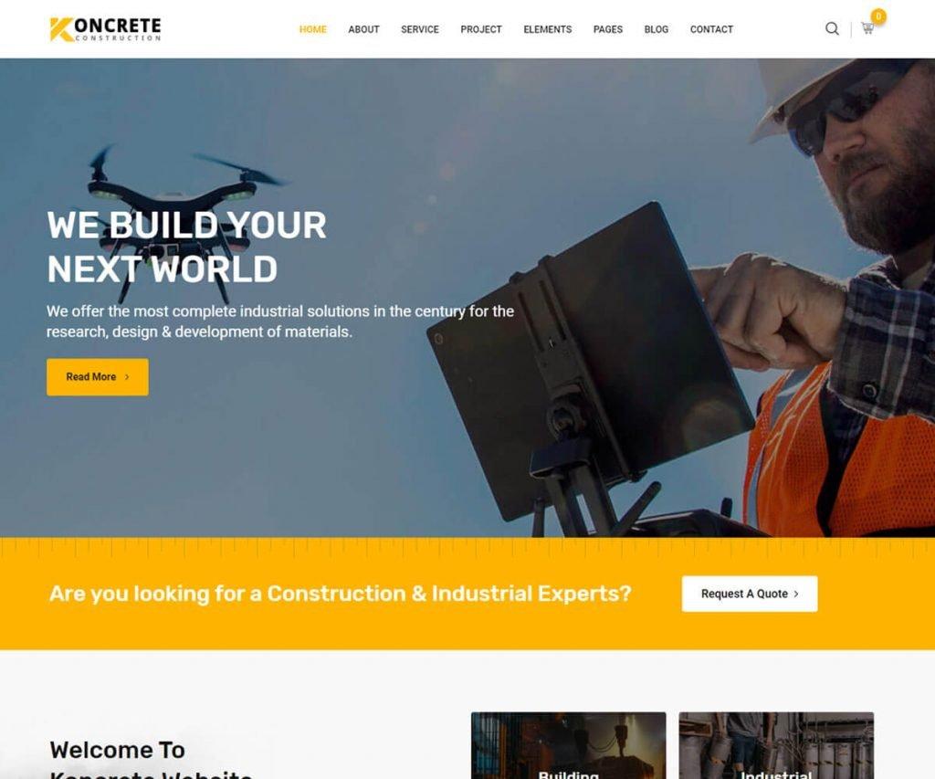 Koncrete is the construction wordpress templates
