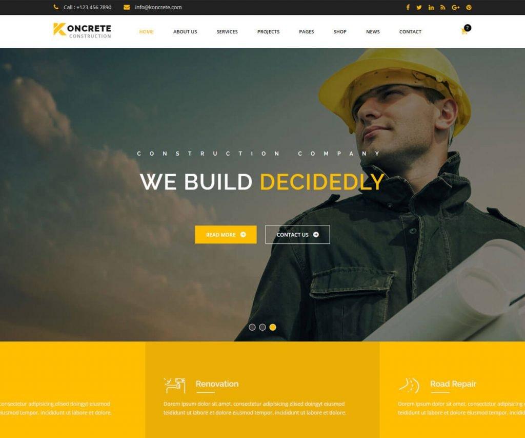 construction website html templates