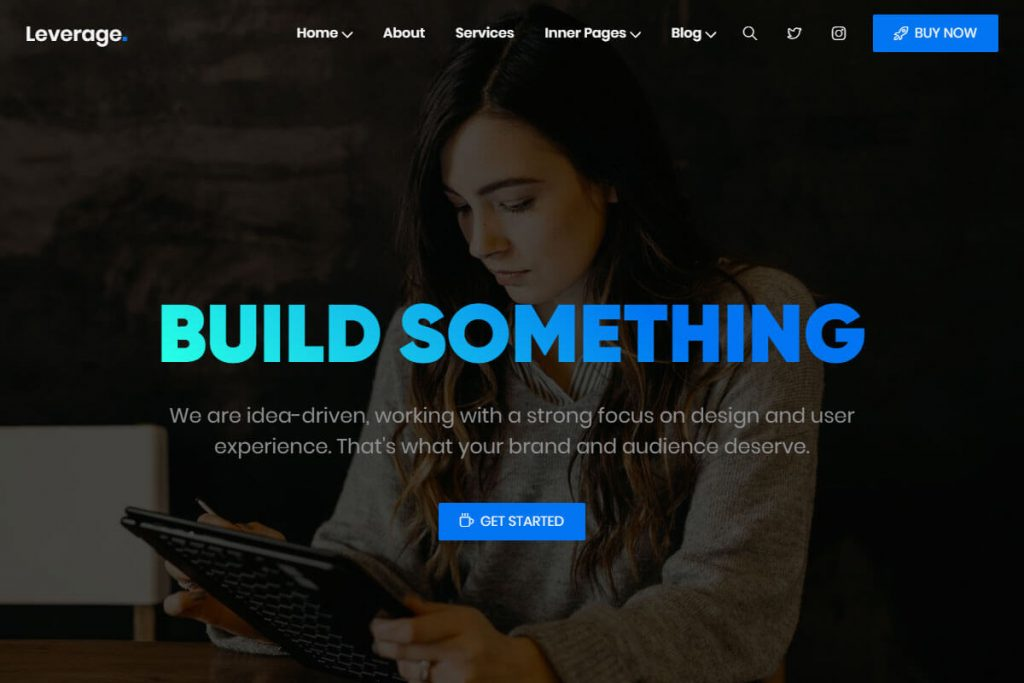 Leverage is a fantastic Bootstrap personal website template