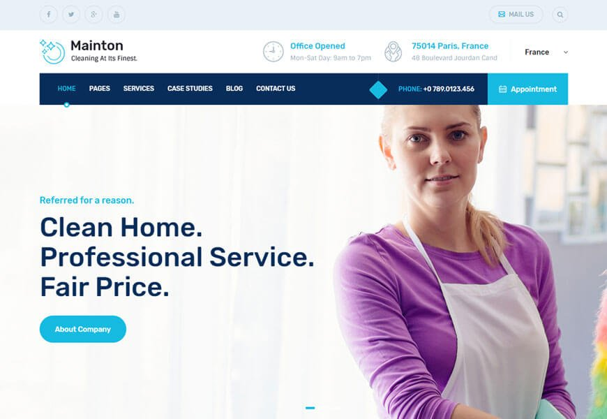 Mainton is the cleaning services website templates