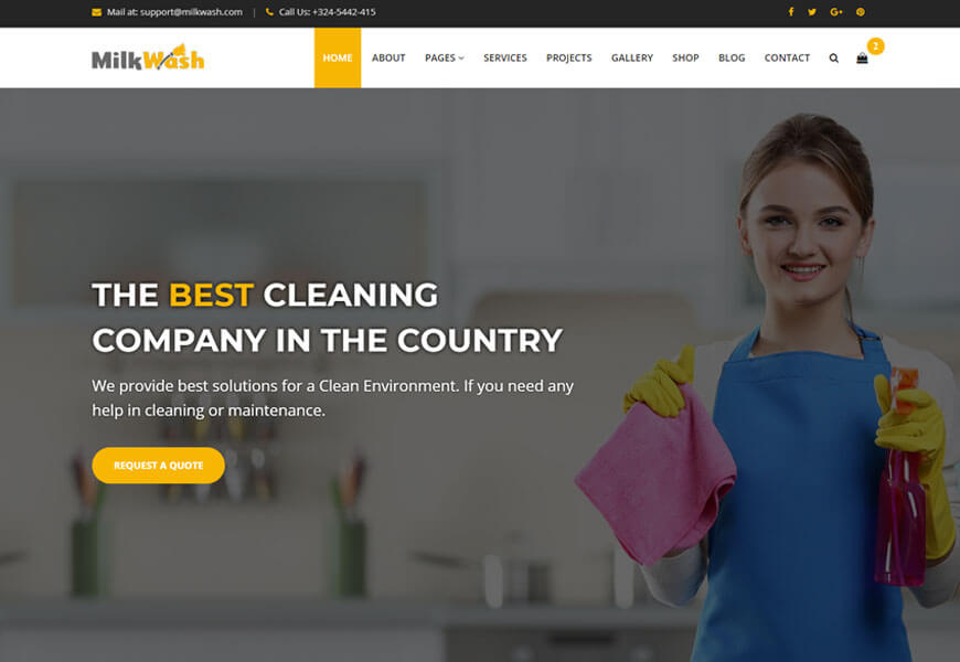 Milk wash is nicely designed cleaning website templates