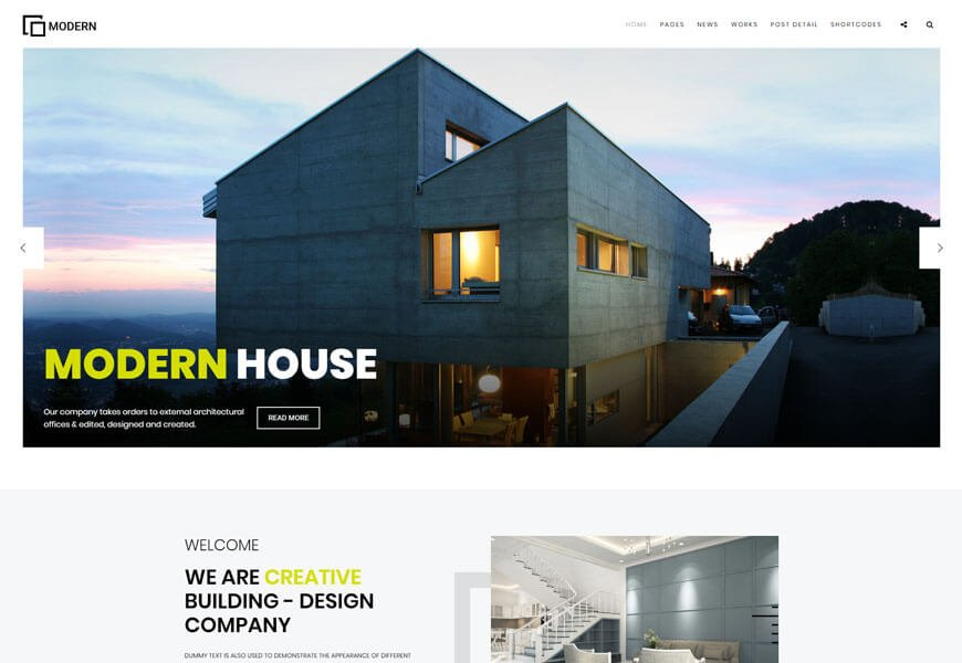 Modern is a contemporary architecture website templates
