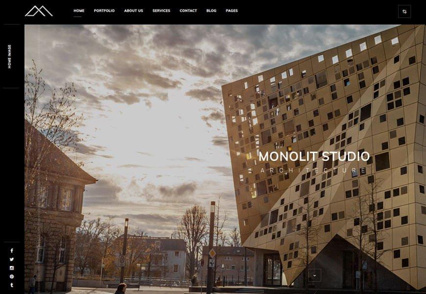 Monolit is another exceptional architecture portfolio website templates