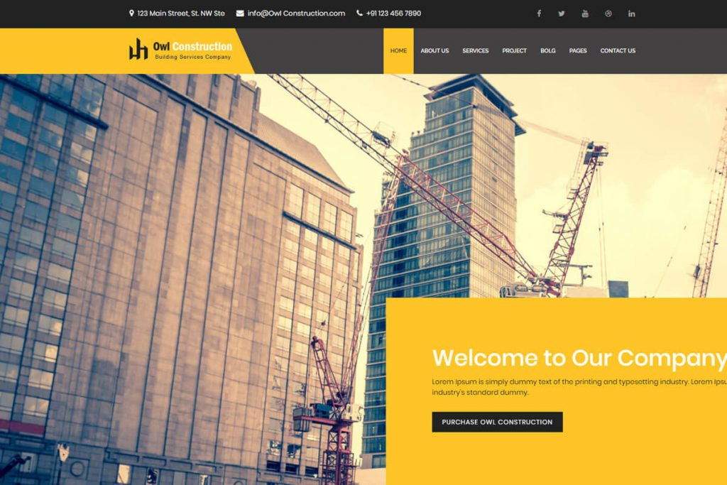 Owl Construction is a construction and business template