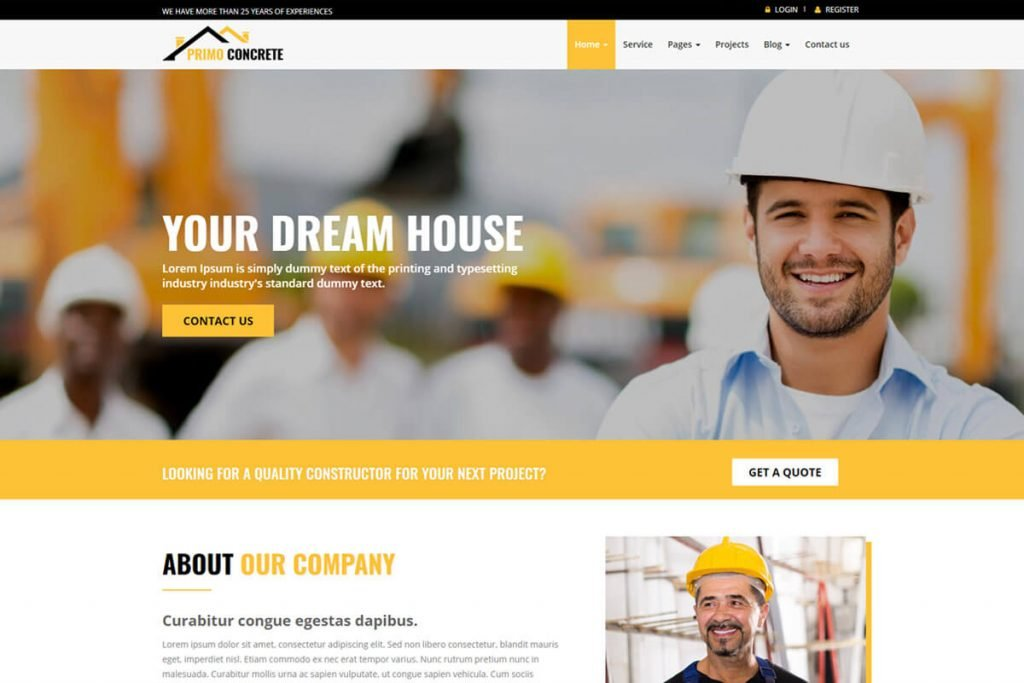 Primo building construction website templates