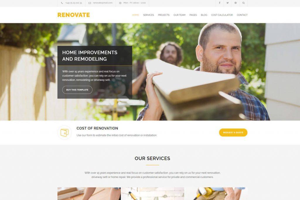 renovate construction service website templates