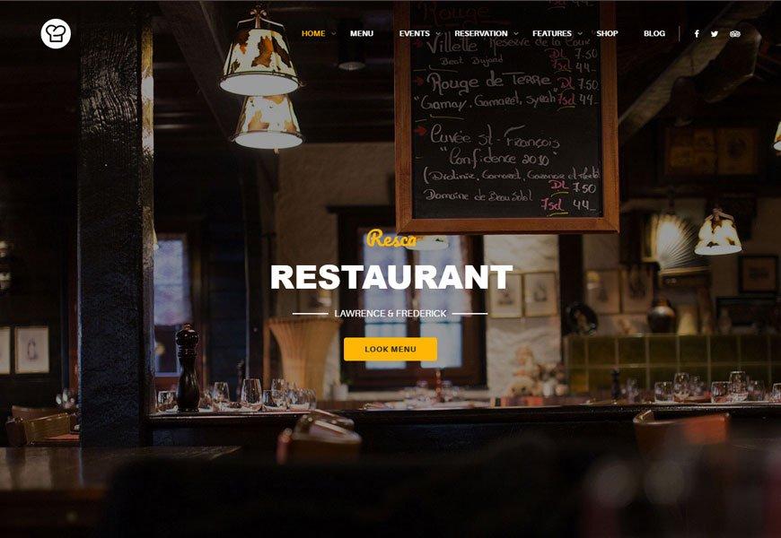 Resca is another restaurant WordPress theme