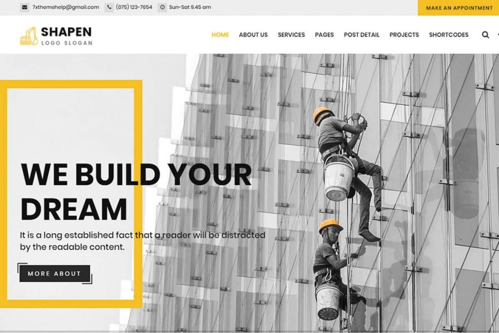 building construction websites templates