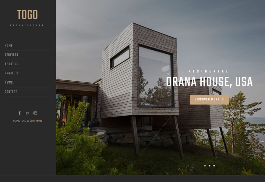TOGO is a standout architecture website templates