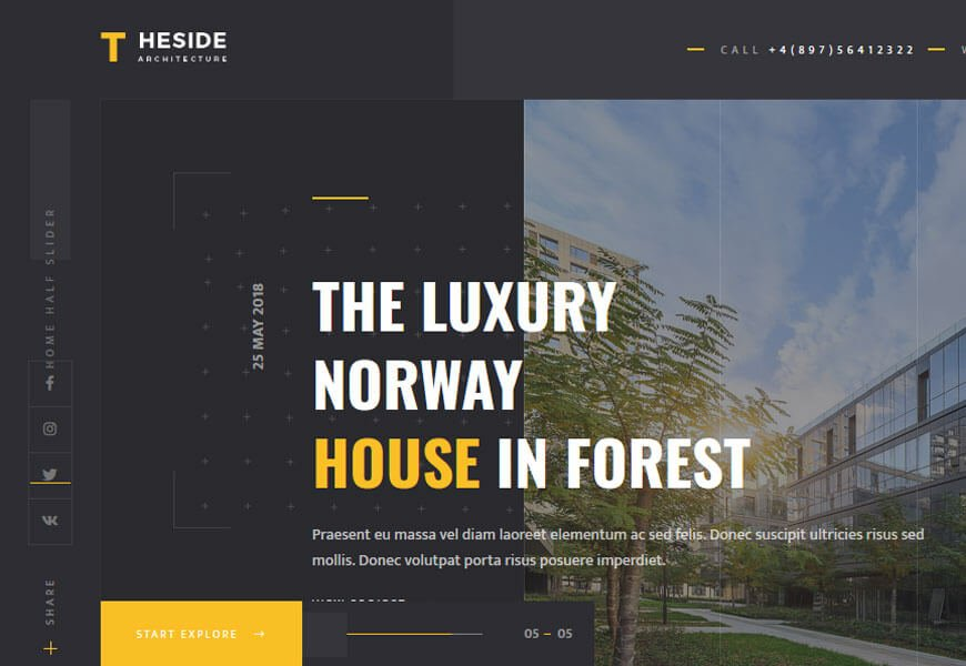 TheSide is an architecture website design templates