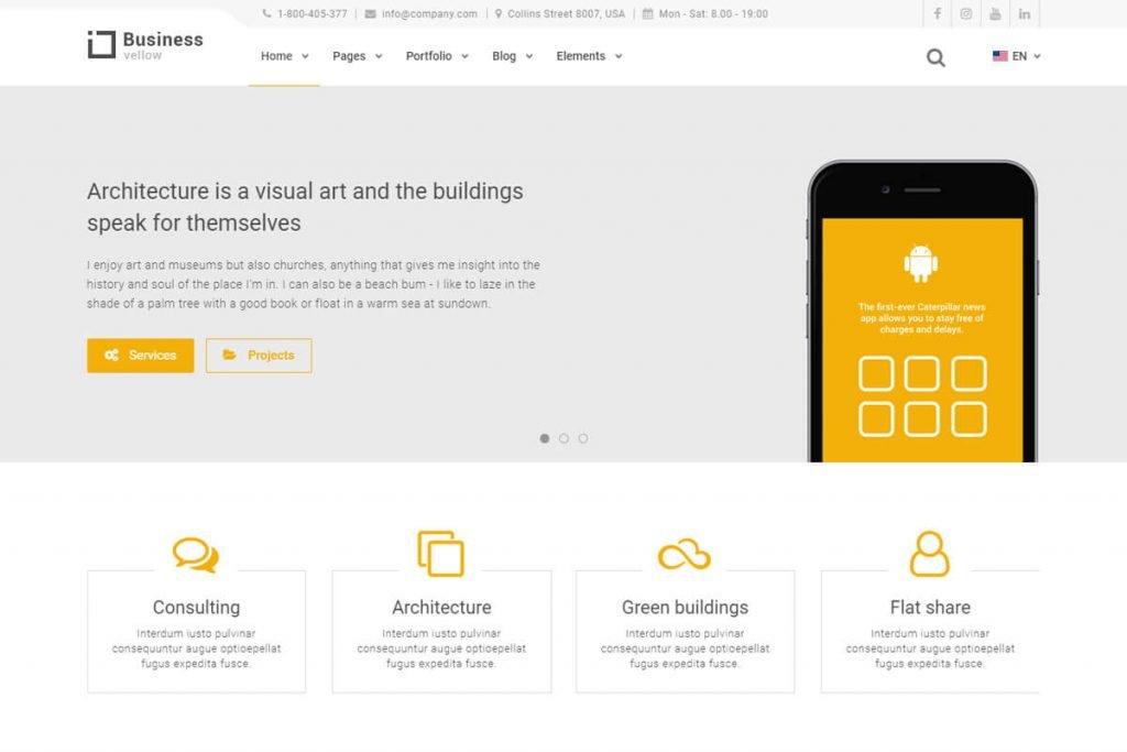 yellow business website templates