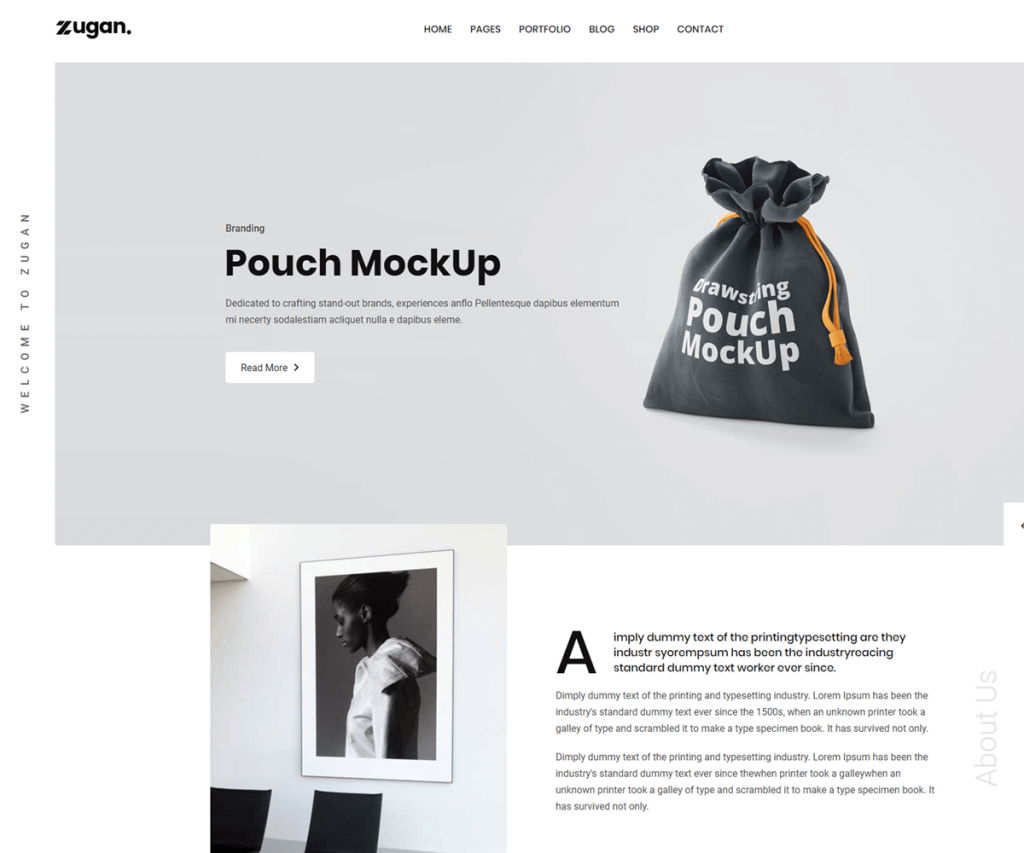 Zugan is a portfolio website template