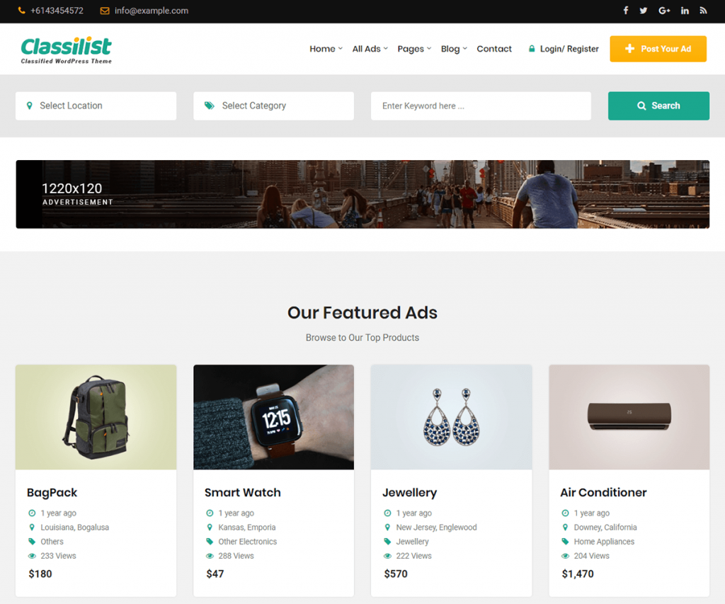 Classilist is classified ads wordpress theme