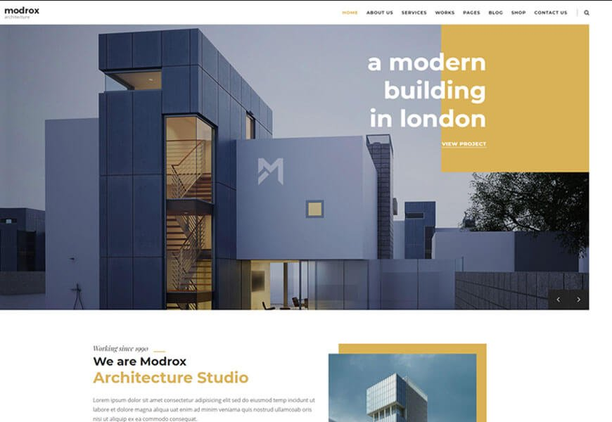 Modrox is a beautiful template that's designed particularly for architecture and design businesses