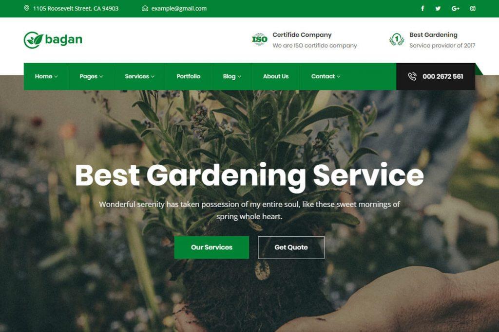 Bagan is an elegant gardening website templates