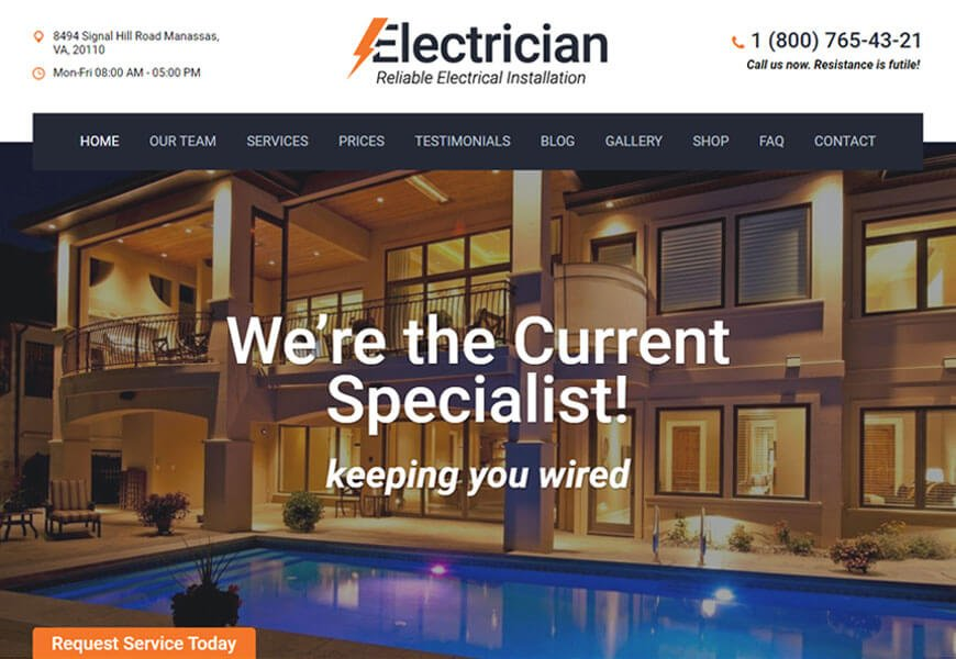 Electrician is a modern WordPress theme for electrical companies