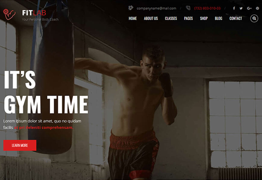 FitLab is the most uniquely coded gym and fitness website template.