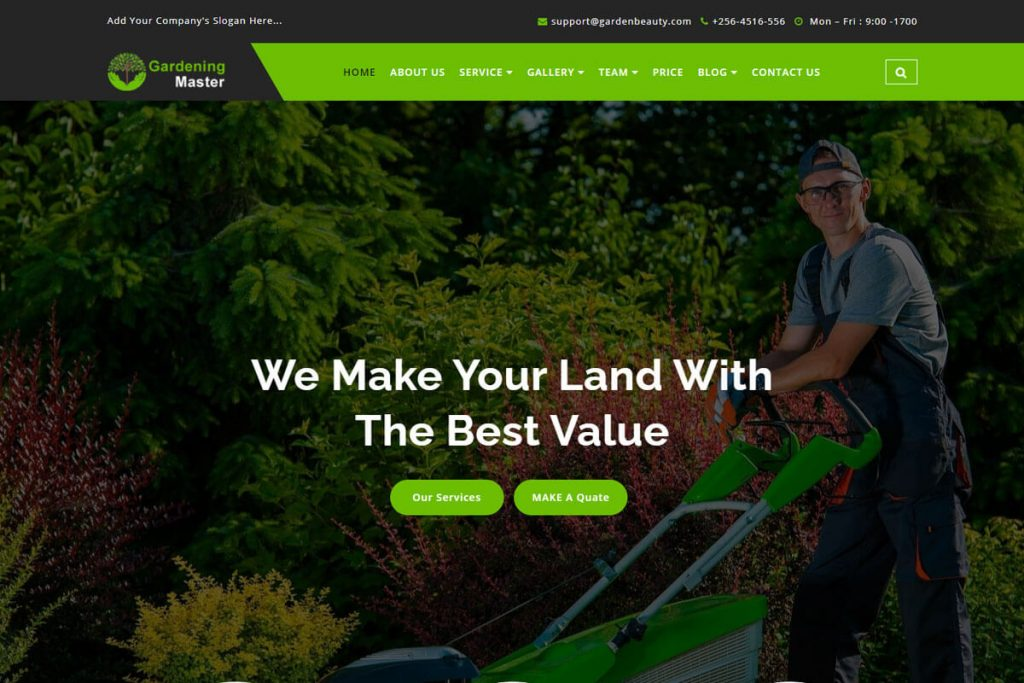 Gardening Master is a clean and elegant lawn service website template