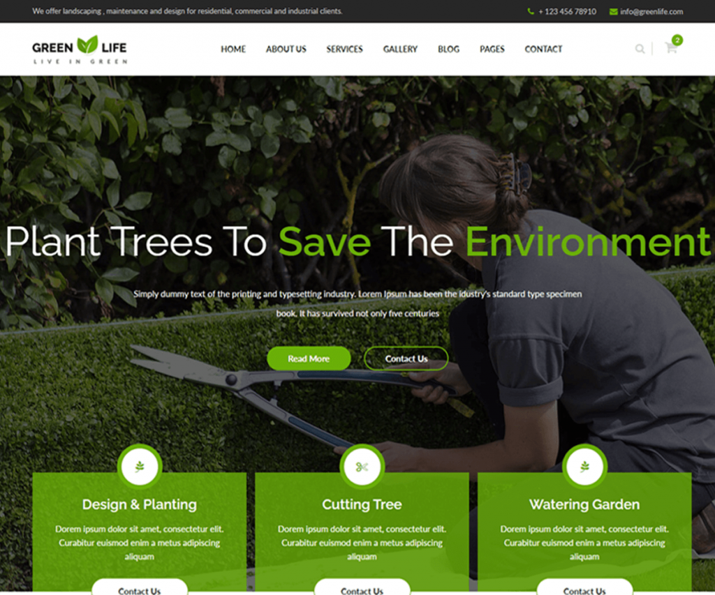GreenLife is a gardening and landscaping website templates