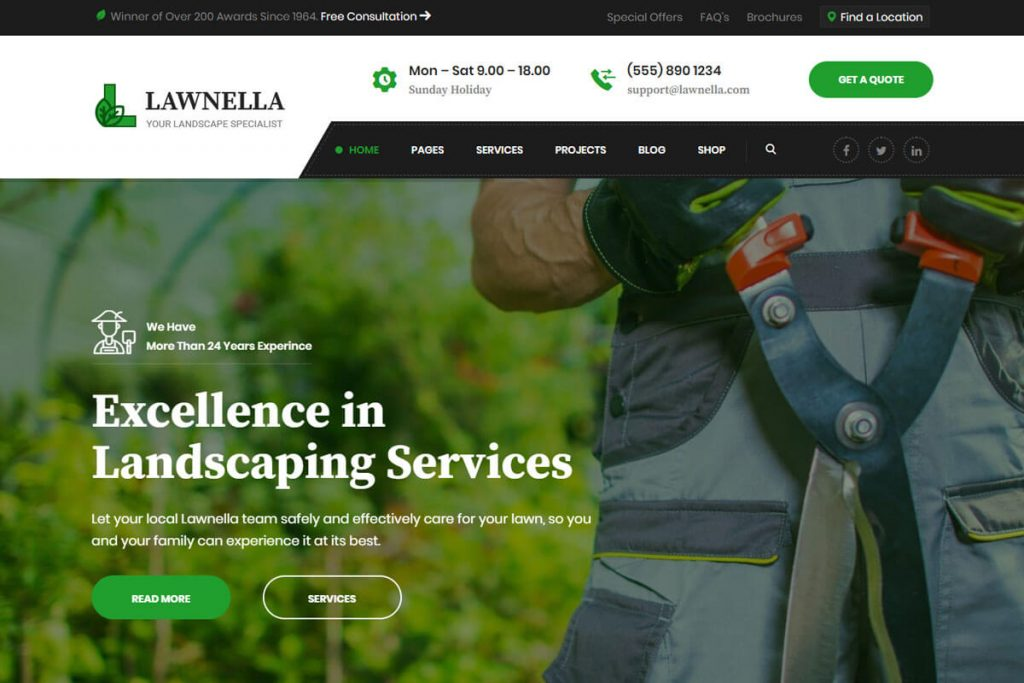 Lawnella is one of the best gardening website templates