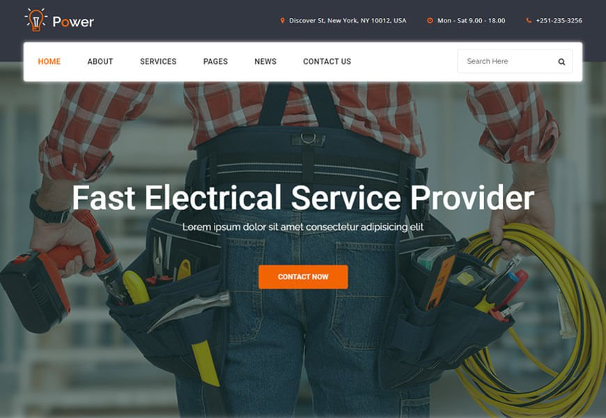 power is electrical services providing website templates