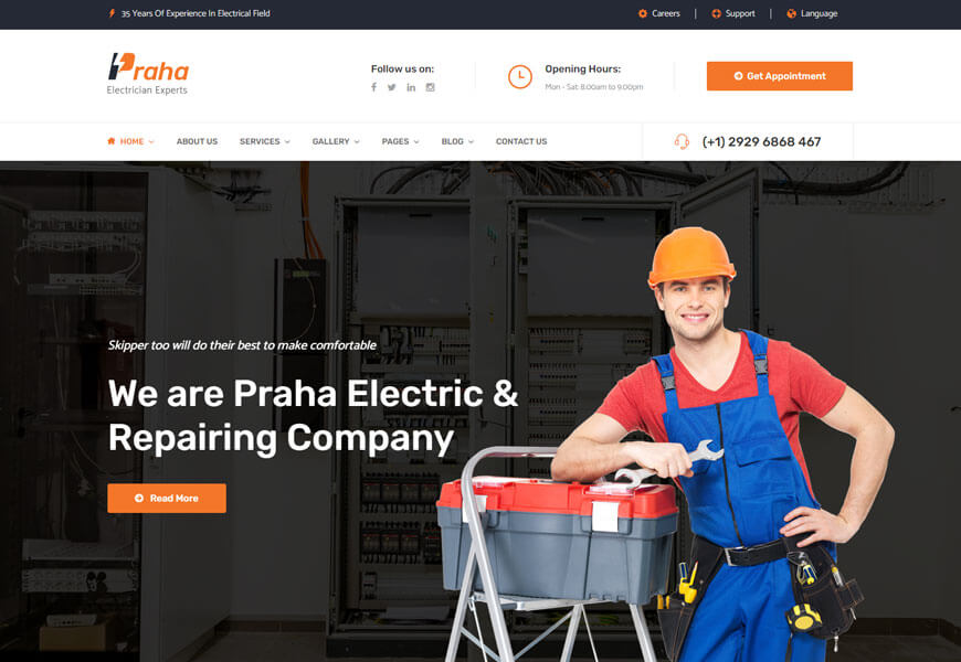 praha is the electrician website templates