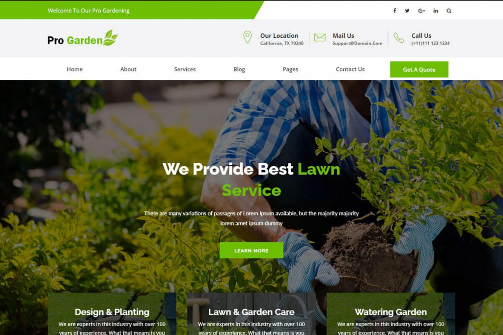 landscaping company website templates