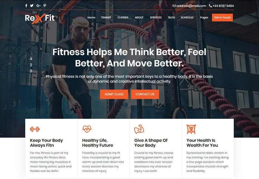RexFit is an adorable fitness template based on HTML5 and CSS3 coding