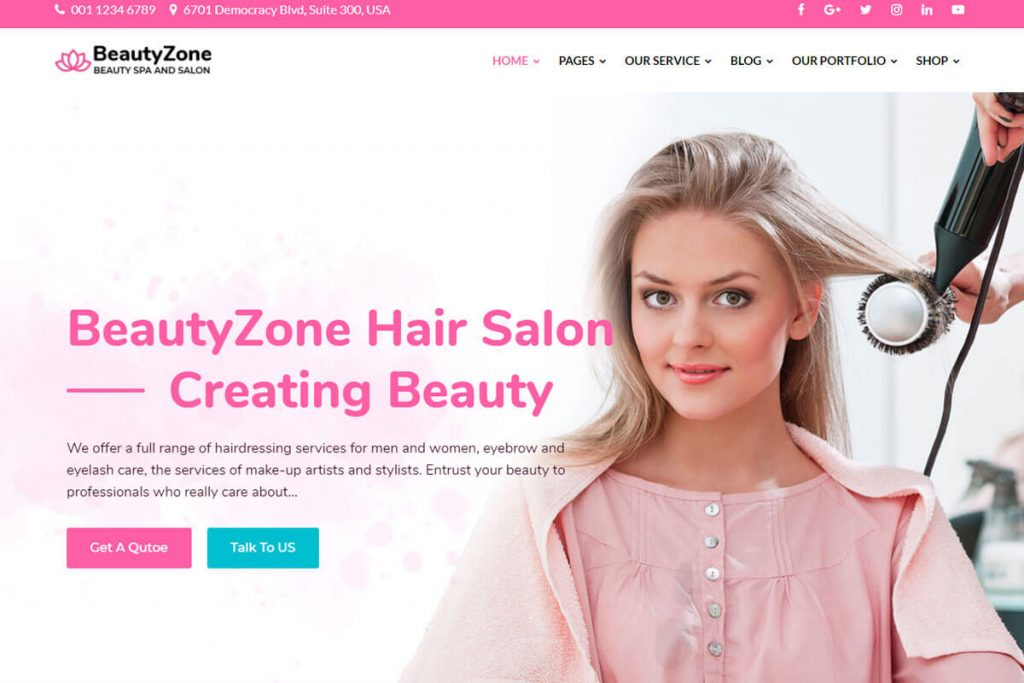 beautyzone is the best salon website templates